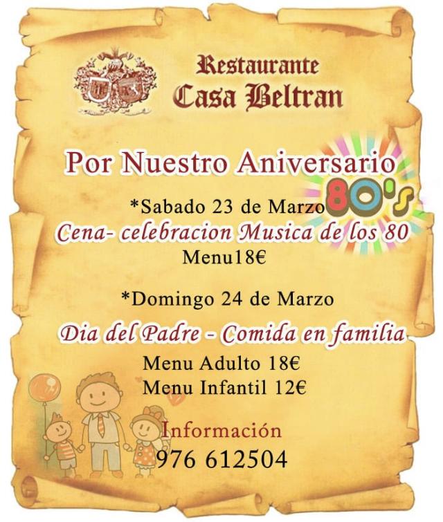 Cena y Comida especial Aniversario